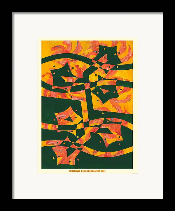 Collage Framed Print featuring the mixed media Fireflower by Heike Schenk-Arena