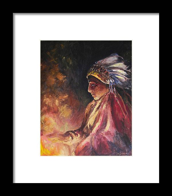 Indian Framed Print featuring the painting Firehandler by Jun Jamosmos