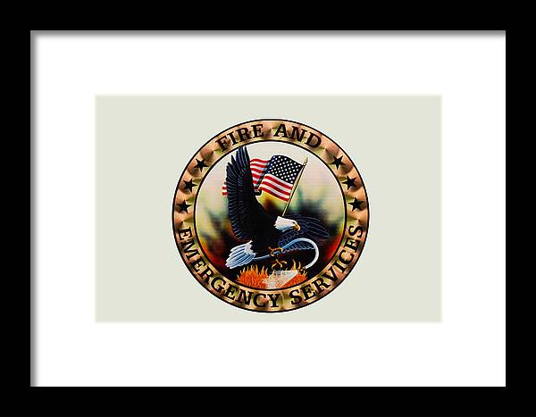 Fireman Framed Print featuring the photograph Fireman - Fire And Emergency Services Seal by Paul Ward