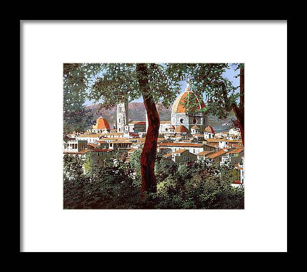 Landscape Framed Print featuring the painting Firenze by Guido Borelli