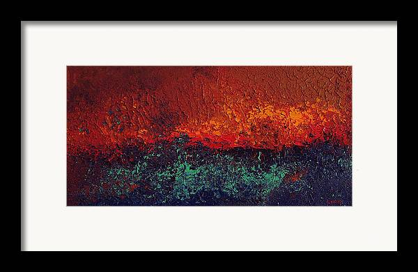 Abstract Framed Print featuring the painting Firestorm by Michael Lewis