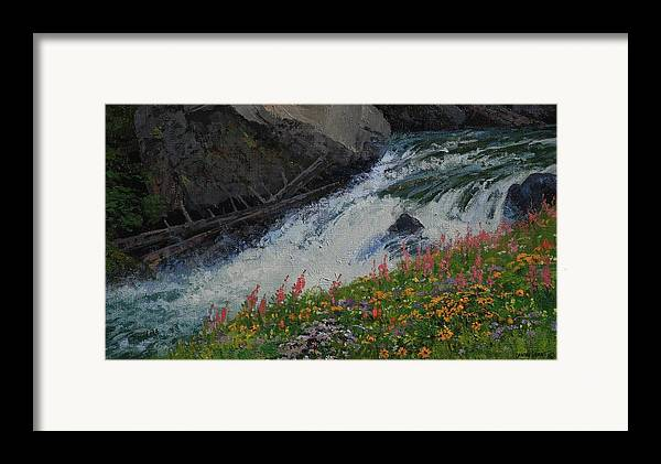 Landscape Framed Print featuring the painting Fireweed by Lanny Grant