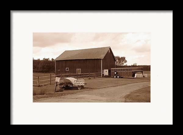 Barn Framed Print featuring the photograph Firewood For Sale by Rhonda Barrett