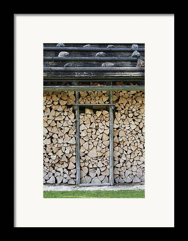 Firewood Framed Print featuring the photograph Firewood Stack by Frank Tschakert