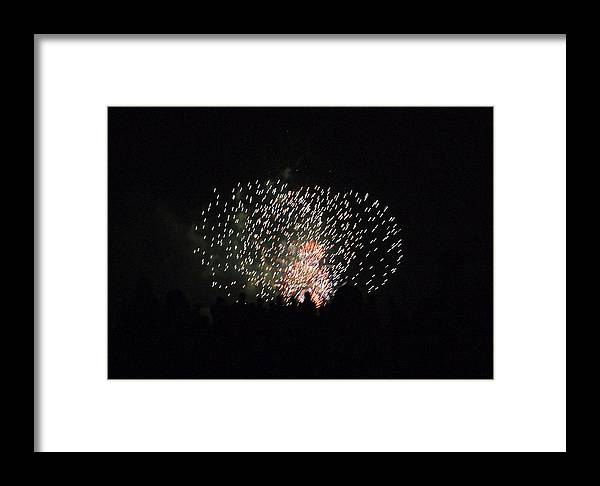 Fireworks Framed Print featuring the photograph Firework Silhouettes by Carmen Hooven