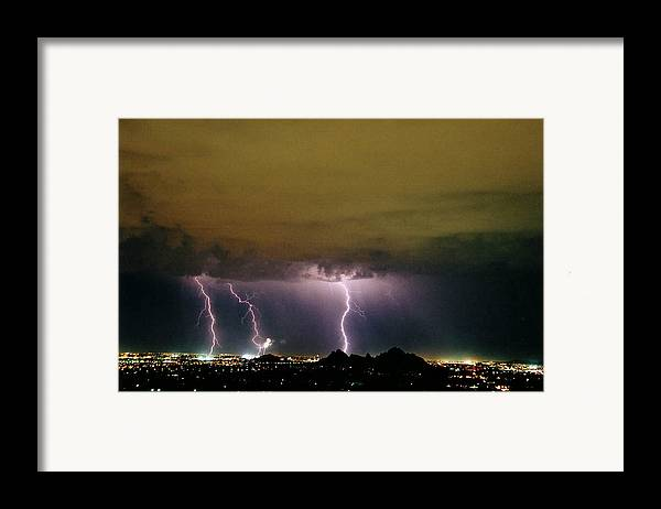 Lightning Framed Print featuring the photograph Fireworks 1 by Cathy Franklin
