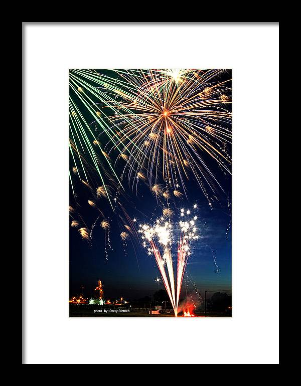 Fireworks Framed Print featuring the photograph Fireworks At Maple Creek by Darcy Dietrich