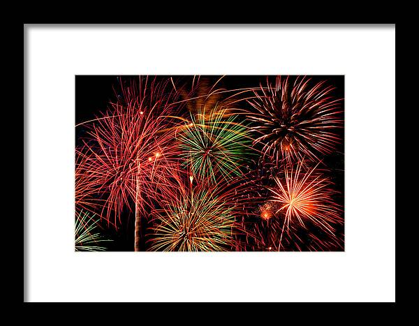 Fireworks Framed Print featuring the pyrography Fireworks by Erik Watts