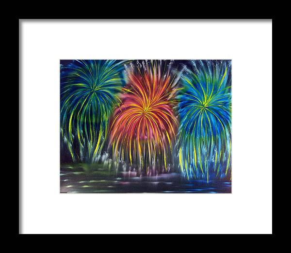 Firework Framed Print featuring the painting Fireworks Explode by Marie Lamoureaux