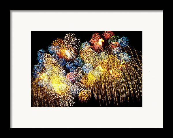 4th Of July Framed Print featuring the photograph Fireworks Exploding by Garry Gay