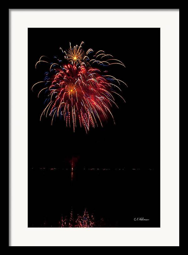 Fireworks Framed Print featuring the photograph Fireworks II by Christopher Holmes