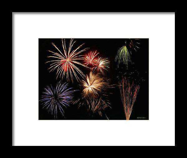 Fireworks Framed Print featuring the painting Fireworks by Jeffrey Kolker