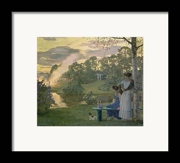 Fireworks Framed Print featuring the painting Fireworks by Konstantin Andreevic Somov