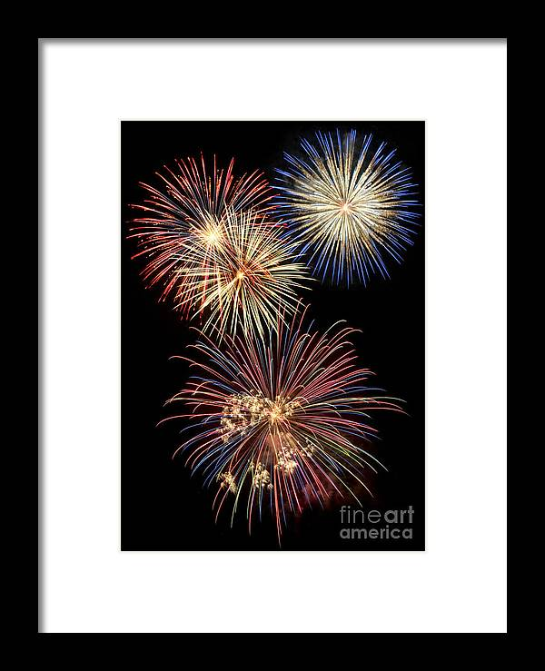 Fireworks Framed Print featuring the digital art Fireworks by Leah McPhail