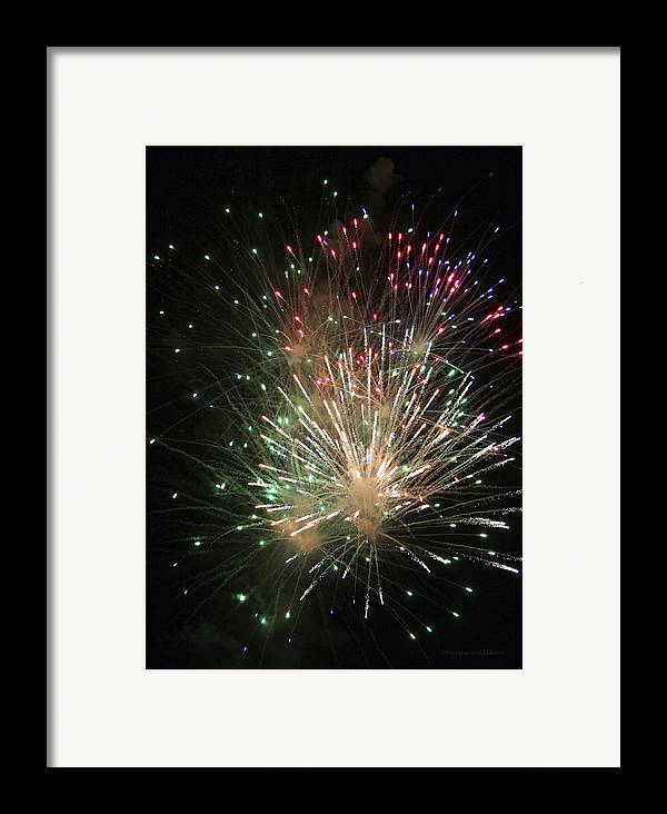 Fireworks Framed Print featuring the photograph Fireworks by Margie Wildblood