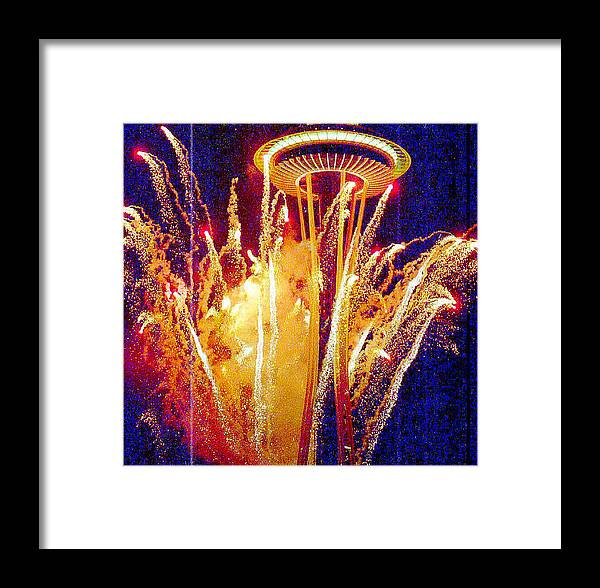 Fireworks Framed Print featuring the photograph Fireworks Seattle by Maro Kentros