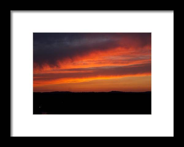 Red Sunset Framed Print featuring the photograph Firey Skies by Toni Berry