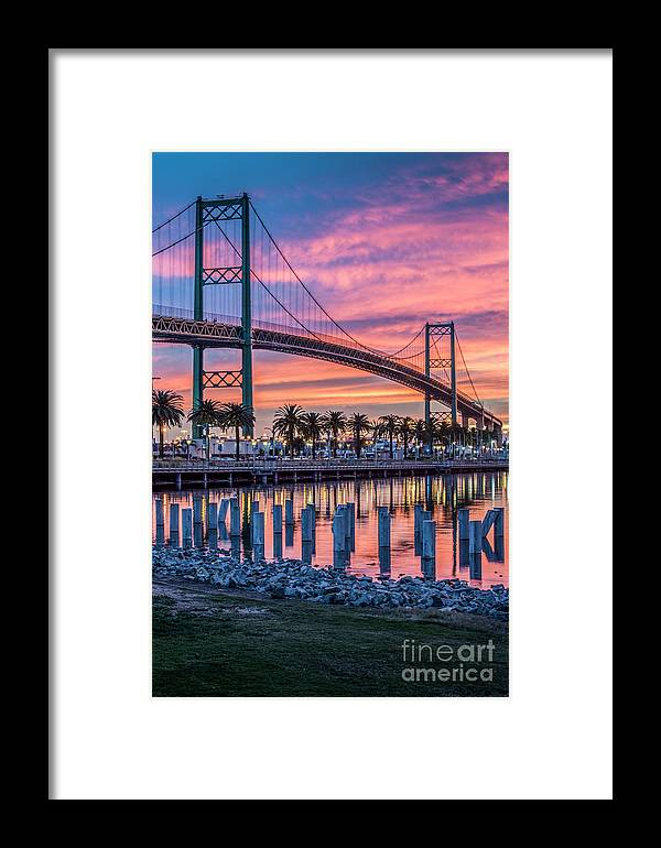 Waterfront Framed Print featuring the photograph Firey Sunrise Vertical Waterfront by David Zanzinger
