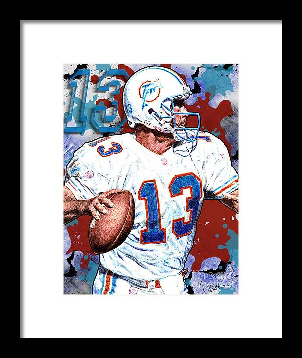 Dan Marino Framed Print featuring the digital art First And Ten by Maria Arango