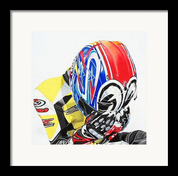 Motorcycle Rider Motosport Racing Self Portrait Spidi Leather Suit Arai Figurative Realism Dark Framed Print featuring the painting First Breath From Coma by Ian Hemingway