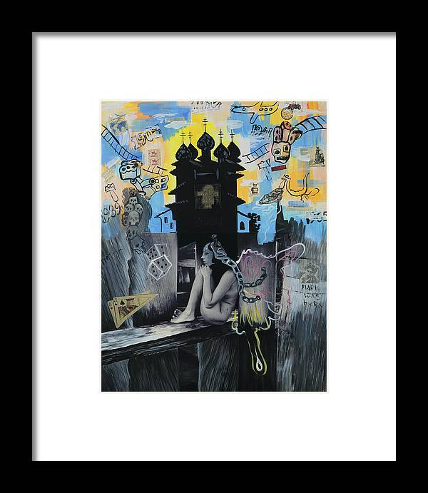 Surreal Framed Print featuring the painting First Butterfly by Yelena Tylkina