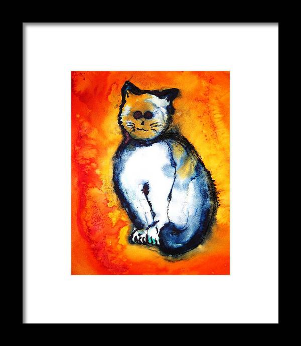 Watercolor Framed Print featuring the painting First Cat by Ronald Oliver