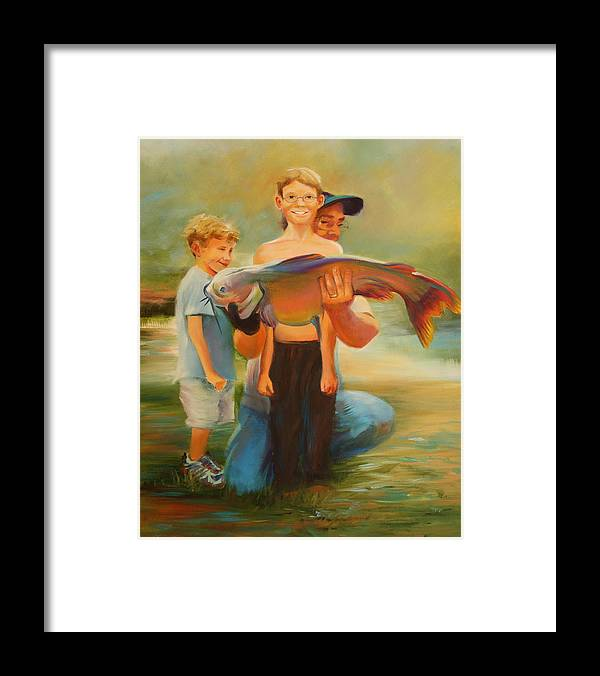 Catfish Framed Print featuring the painting First Catch by Jill Holt
