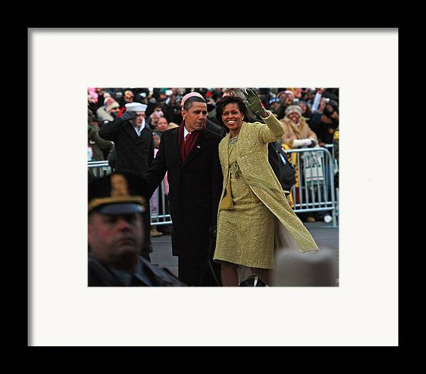 Inaugural Parade Framed Print featuring the photograph First Couple Walking by Charlie Parker