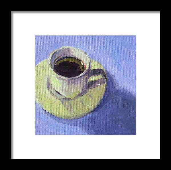Coffee Cup Framed Print featuring the painting First Cup by Nancy Merkle