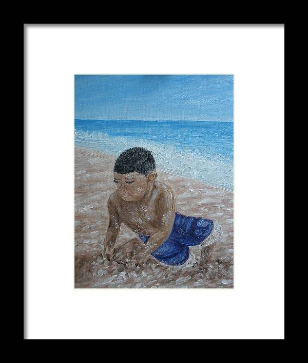 Beach Framed Print featuring the painting First Day At The Beach by Carrie Mayotte