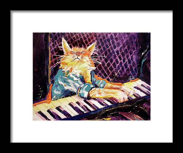 Charlie Schmidt Framed Print featuring the painting First Ever Keyboard Cat Painting by Charlie Schmidt