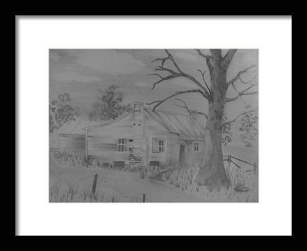 Trees Framed Print featuring the drawing First House by Tyson Eugene