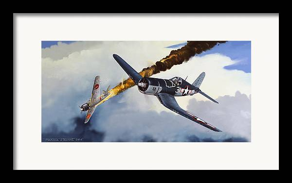 Military Framed Print featuring the painting First Kill For The Jolly Rogers by Marc Stewart