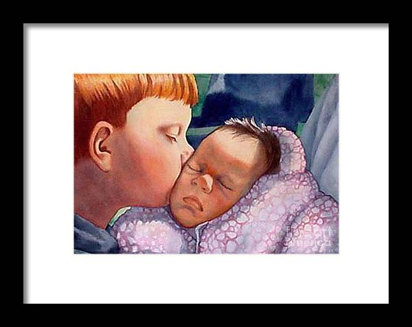 Portrait Framed Print featuring the painting First Kiss by Gail Zavala