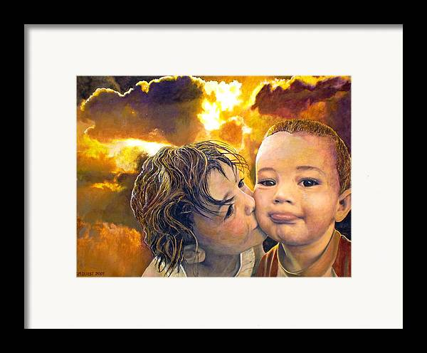 Children Framed Print featuring the painting First Kiss by Michael Durst