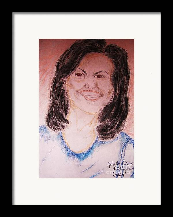 Michelle Obama Framed Print featuring the greeting card First Lady by Beverly Howell