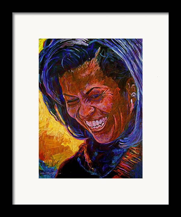 Michele Obama Artwork Framed Print featuring the painting First Lady Michele Obama by David Lloyd Glover