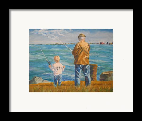 Fishermen Framed Print featuring the painting First Lesson To Life's Passion by Libby Cagle