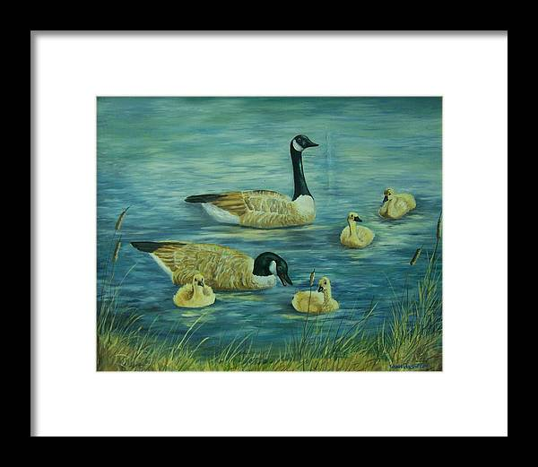 A Pair Of Mallards Framed Print featuring the painting First Lesson by Wanda Dansereau