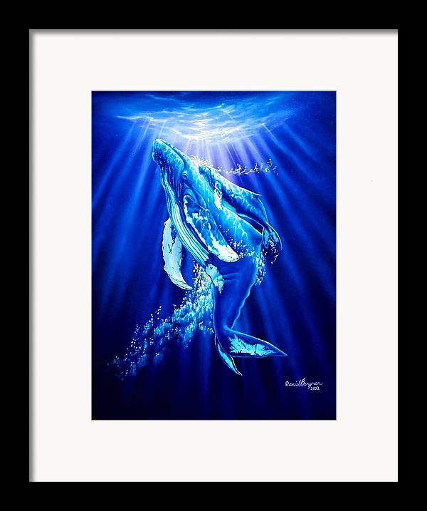 Whale Framed Print featuring the painting First Light by Daniel Bergren