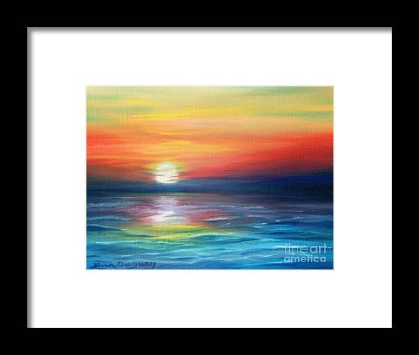 Sunrise Framed Print featuring the painting First Light by Lora Duguay