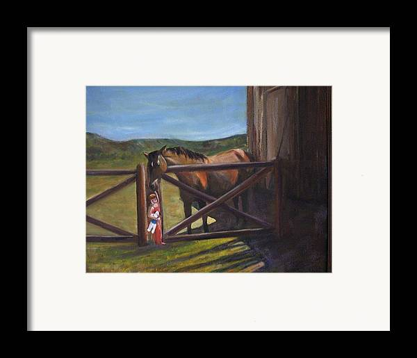 Horse Framed Print featuring the painting First Love by Darla Joy Johnson
