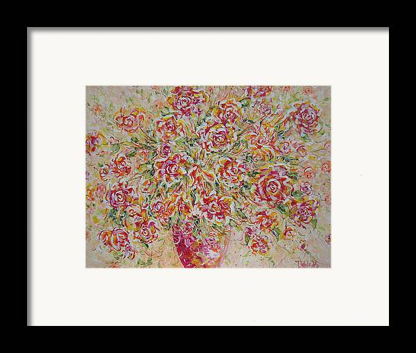 Flowers. Floral Framed Print featuring the painting First Love Flowers by Natalie Holland