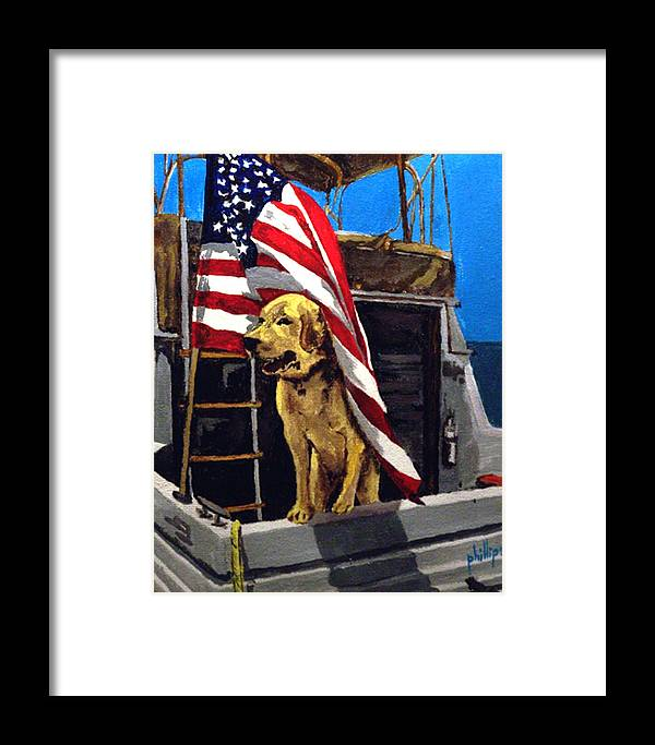 Dog Framed Print featuring the painting First Mate by Jim Phillips