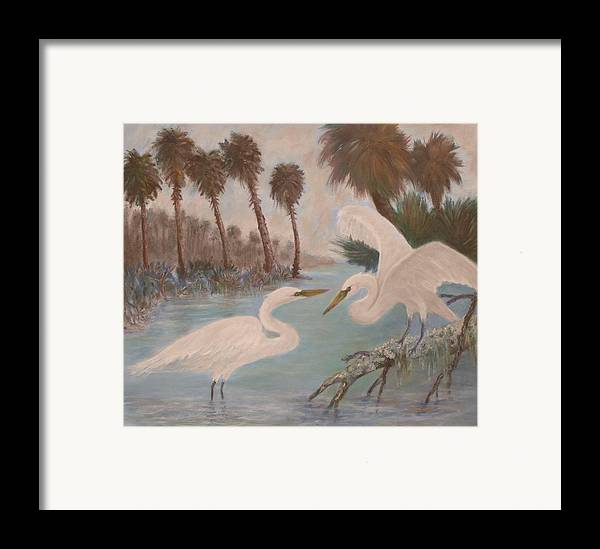 Egret Framed Print featuring the painting First Meeting by Ben Kiger