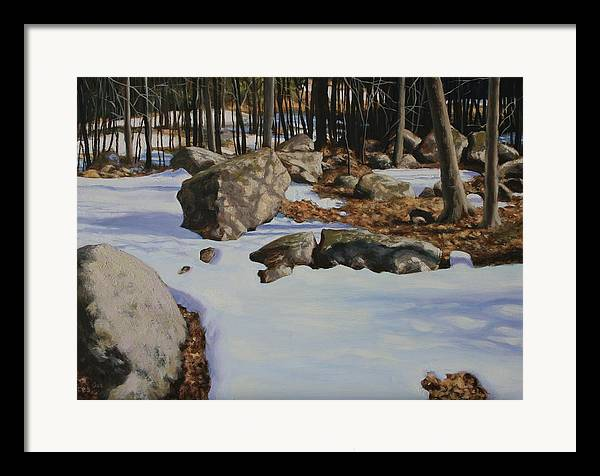 Oil On Foamcore Framed Print featuring the painting First Melt by Michael Vires