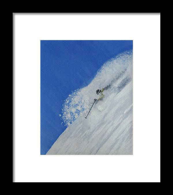 Ski Framed Print featuring the painting First by Michael Cuozzo