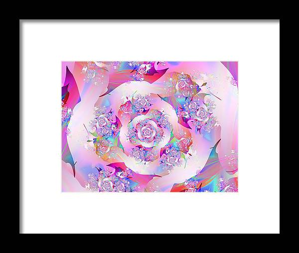 Fractal Framed Print featuring the digital art First Rose by Vicky Brago-Mitchell