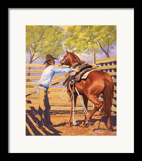 Cowboy Framed Print featuring the painting First Saddling by Howard Dubois