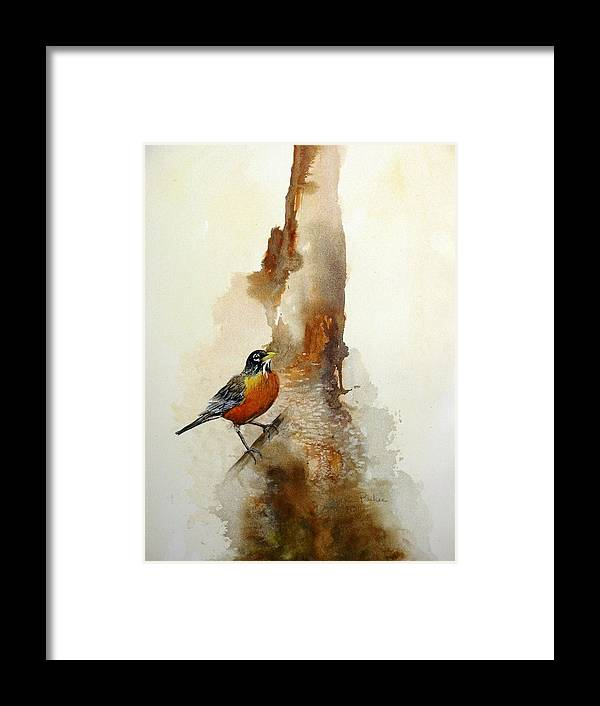 Robin Framed Print featuring the painting First Sign Of Spring by Lynne Parker